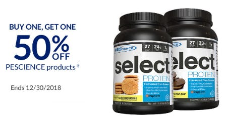 BOGO 50% Off PEScience Products
