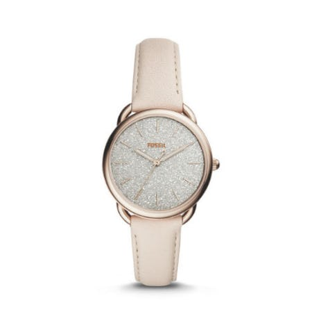 Tailor Three-Hand Winter White Leather Watch from Fossil
