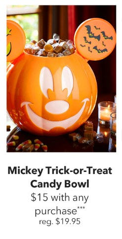 $15 Mickey Mouse Trick-or-Treat Candy Bowl with Any Purchase from Disney Store
