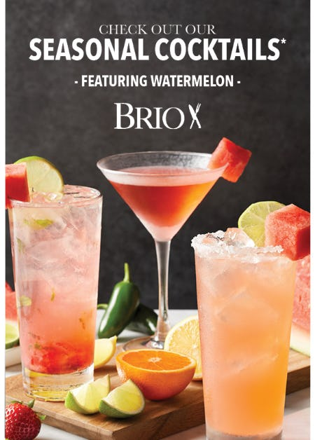 Watermelon-Inspired Seasonal Cocktails at BRIO Tuscan Grille