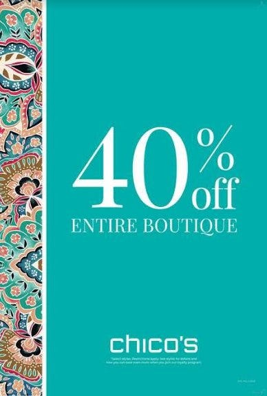 40% Off Entire Boutique from chico's