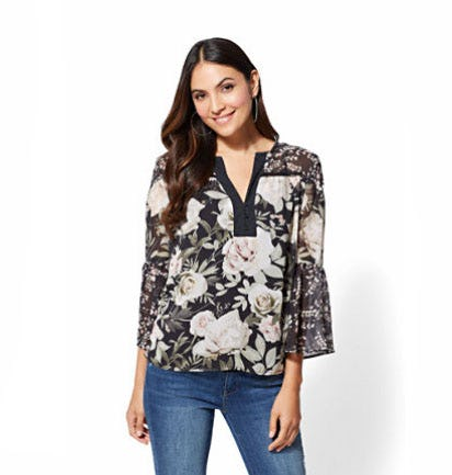 Black Floral Peasant Blouse from New York & Company