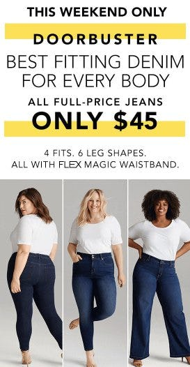 All Full-Price Jeans $45 from Lane Bryant