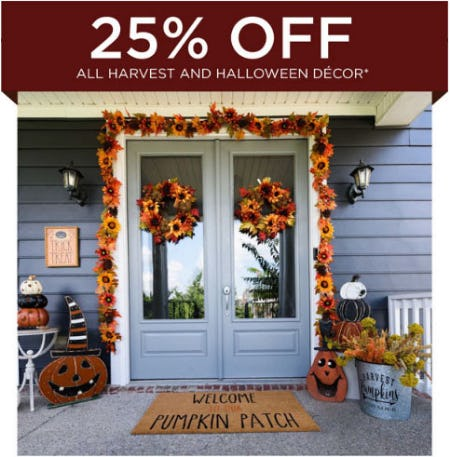 25% Off All Harvest & Halloween Decor
