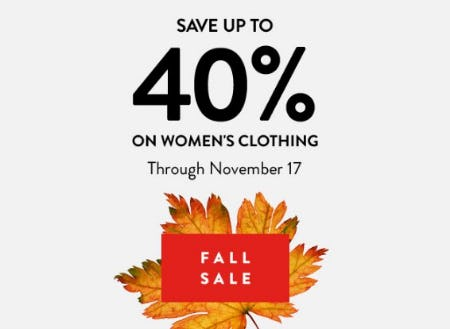 Save up to 40% on Women's Clothing