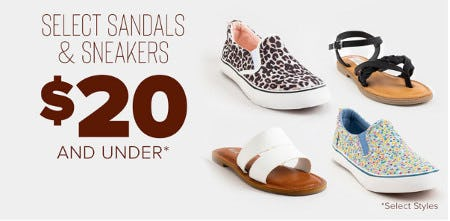 Select Sandals and Sneakers $20 and Under from Francesca's