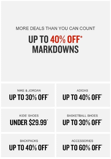 289d7f419f8 Up to 40% Off Markdowns at Finish Line