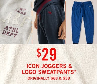 $29 Icon Joggers & Logo Sweatpants