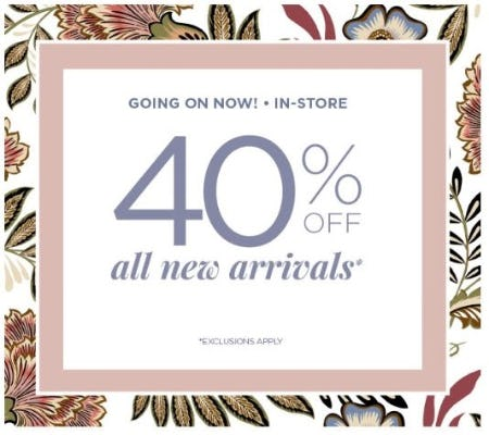 40% Off All New Arrivals