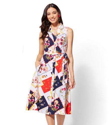 Floral Patchwork Shirtdress
