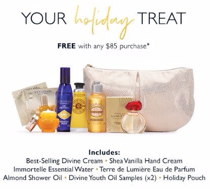 Your Holiday Treat Free With Any $85 Purchase