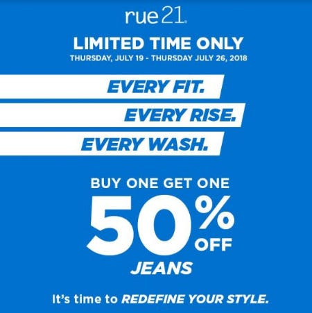 Buy One, Get One 50% Off Jeans from rue21