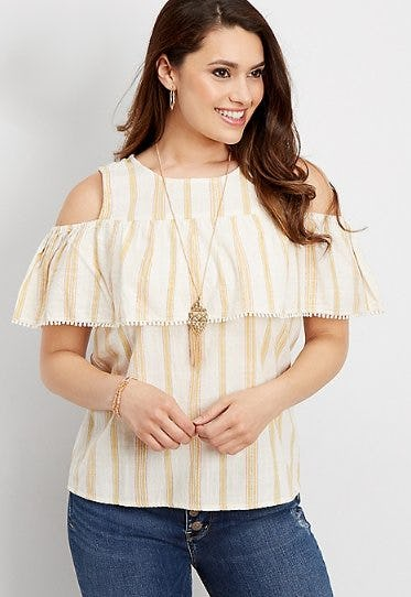 Yellow Stripe Cold Shoulder Blouse from maurices