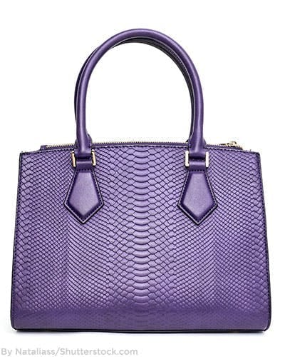 Purple snakeskin handbag.