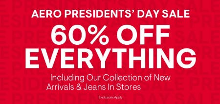 60% Off Aero Presidents' Day Sale from Aéropostale