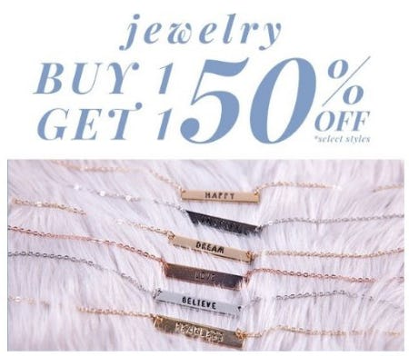 BOGO 50% Off Jewelry from Tillys