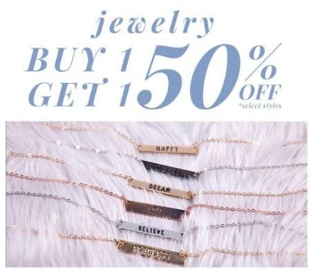 BOGO 50% Off Jewelry