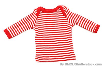 Child's red and white striped long-sleeved shirt.