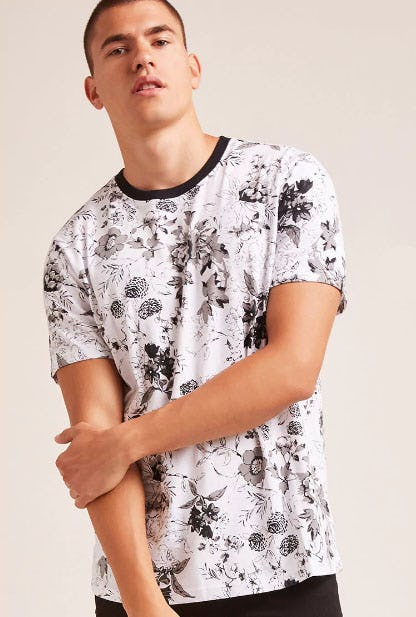 Contrast Floral Print Tee from Forever 21