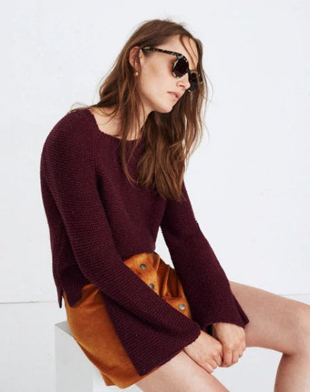 Wide-Sleeve Pullover Sweater