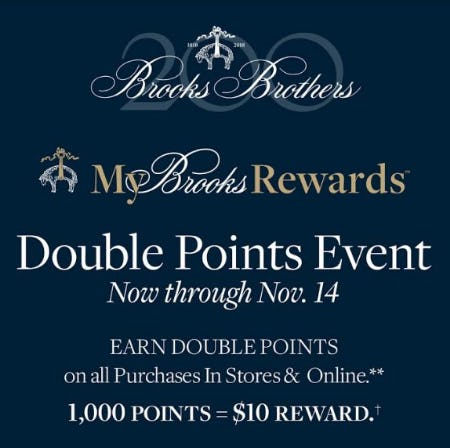 Double Points Event from Brooks Brothers