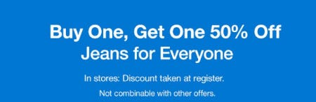 Buy One, Get One 50% Off Jeans for Everyone from Gap