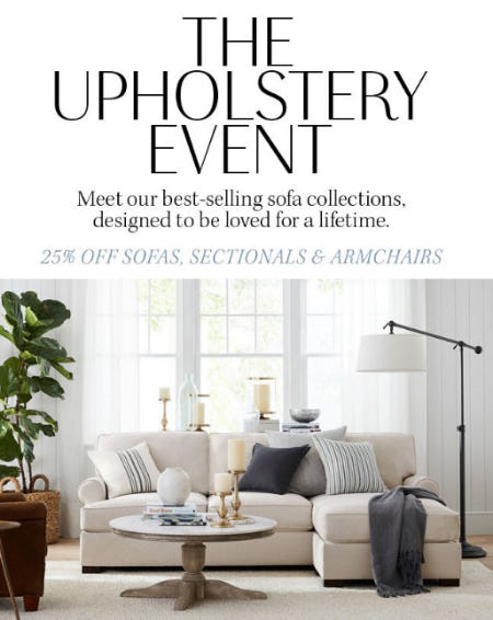 25% Off Sofas, Sectionals & Armchairs from Pottery Barn