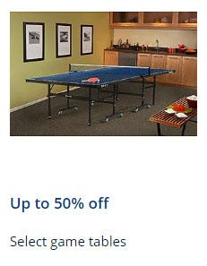 Up to 50% Off Select Game Tables from Sears