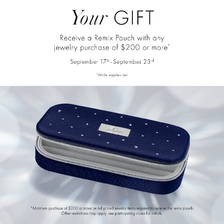 Receive a Remix Pouch with Jewelry Purchase of $200+ from Swarovski