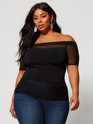 Saida Off Shoulder Mesh Top from Fashion To Figure