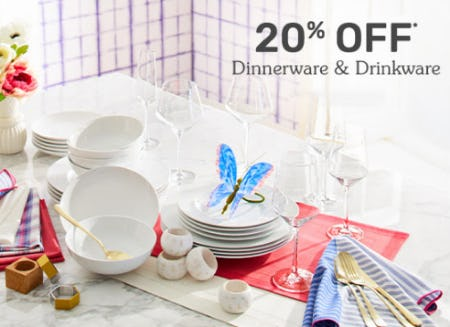 20% Off Dinnerware & Drinkware