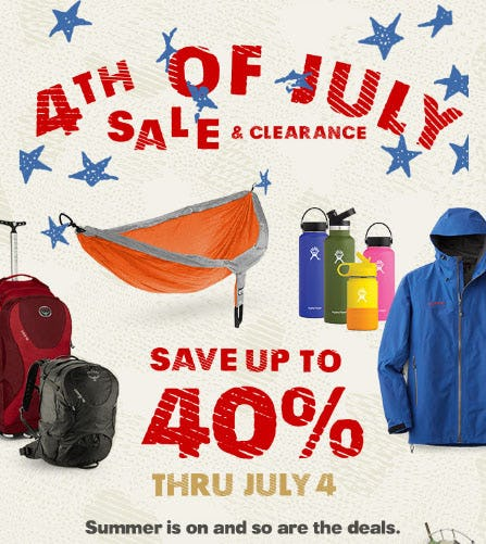 4th of July Sale is Here, Save Up to 40% from REI