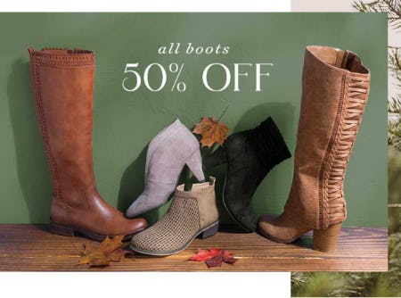 50% Off All Boots from francesca's