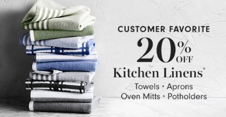 20% Off Kitchen Linens from Williams-Sonoma