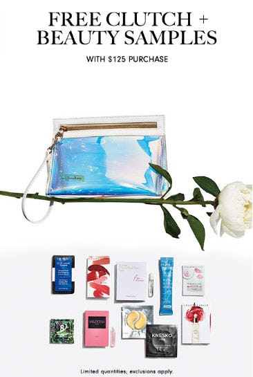 Free Clutch & Beauty Samples with $125 Purchase
