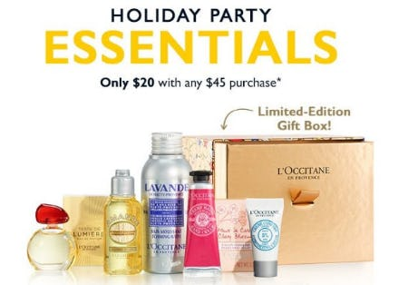 Holiday Party Essentials only $20 with any $45 Purchase from L'Occitane