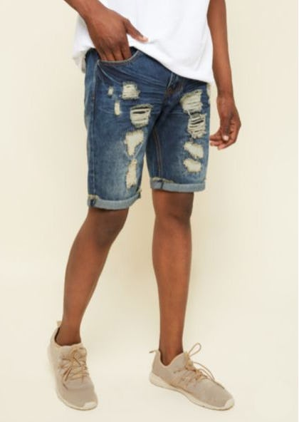 Dark Wash Patched Distressed Cuffed Jean Shorts from rue21