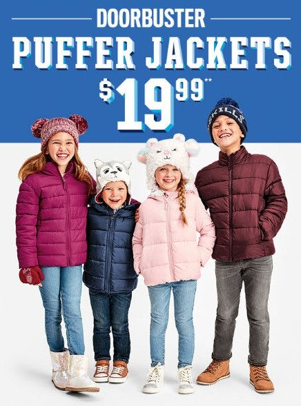 Puffer Jackets $19.99 from The Children's Place