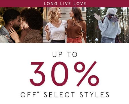 Up to 30% Off Select Styles from Kay Jewelers