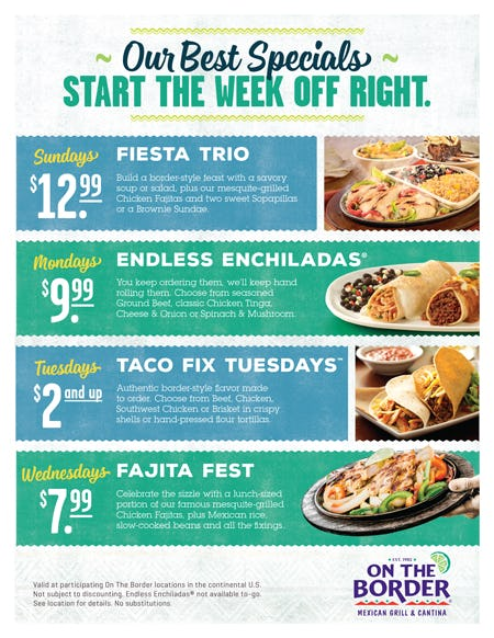 Weekly Specials from On The Border Mexican Grill & Cantina