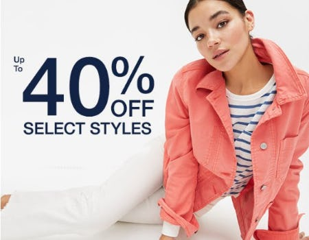 Up to 40% Off Select Styles from Gap