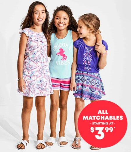 All Matchables Starting at $3.99