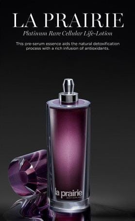 New from La Prairie: Platinum Rare Cellular Life-Lotion from Saks Fifth Avenue