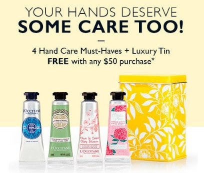 2 Hand Care Must-Haves + Luxury Tin Free With Any $50 Purchase from L'Occitane