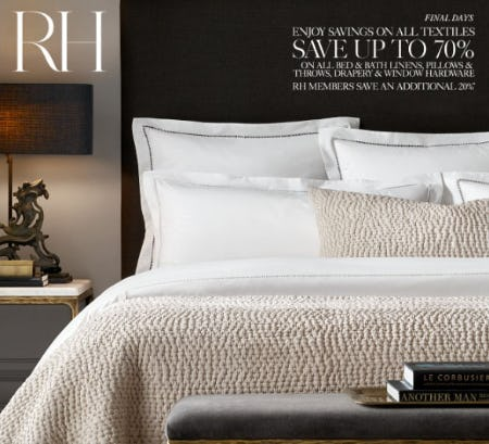 Up to 70% Off All Textiles from Restoration Hardware