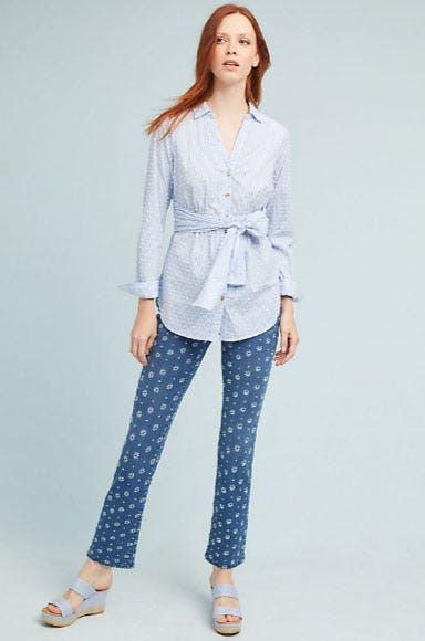 Pilcro Embroidered High-Rise Cropped Bootcut Jeans from Anthropologie