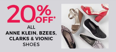 20% Off All Anne Klein, Bzees, Clarks & Vionic Shoes from Stein Mart