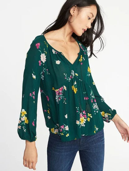 Floral-Print Boho Swing Blouse for Women from Old Navy