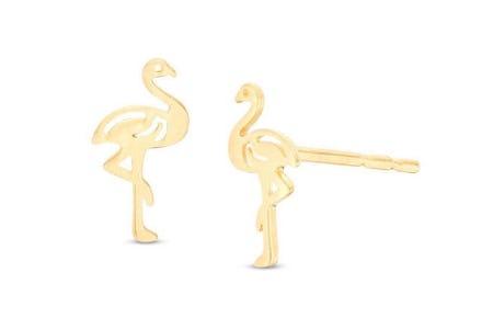 Flamingo Stud Earrings in 10K Gold