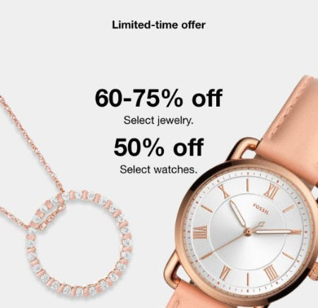 60-75% Off Select Jewelry and 50% Off Select Watches from macy's